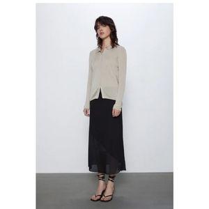 Zara NEW Black Midi Skirt with Contrasting Panel